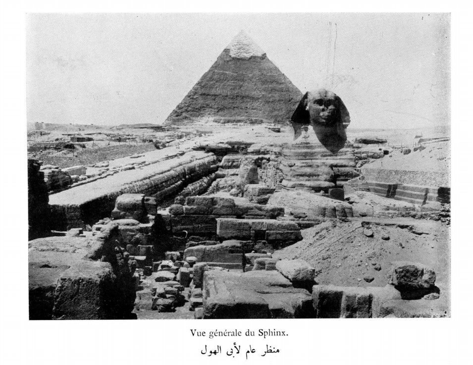 Egipto. Gran Esfinge y pirámide de Kefrén.