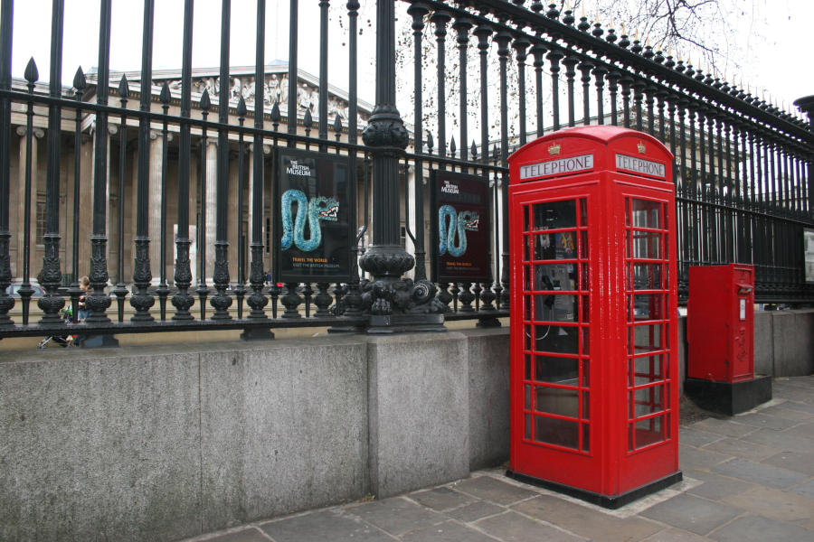 British Museum. Telephone box in the foreground.