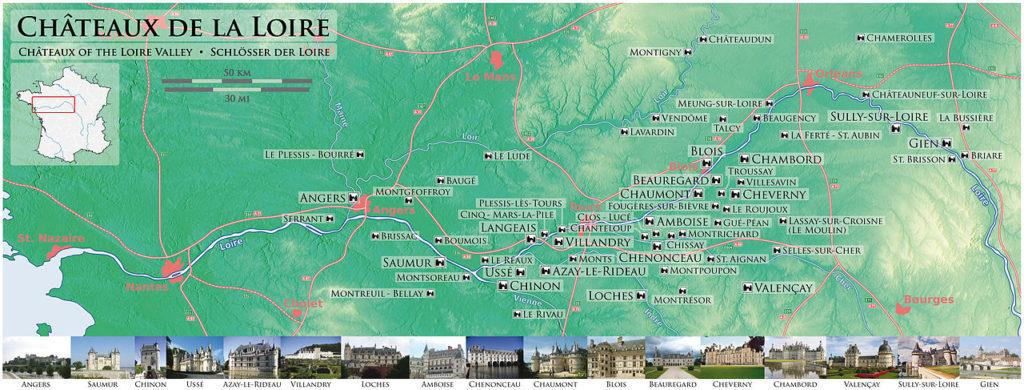 Châteaux de la Loire. Castillos del Loira. Mapa.