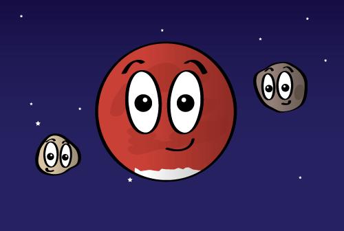 Dibujo de Marte, junto con sus dos lunas: Fobos y Deimos.